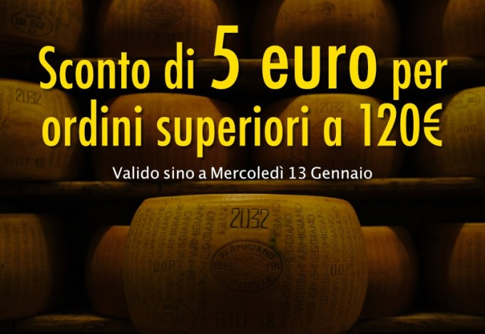 Sconto immediato di 5€ per ordini superiori ai 120 euro